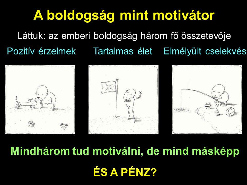 A boldogság mint motivátor Láttuk: az emberi boldogság három fő összetevője Pozitív érzelmek Tartalmas élet Elmélyült cselekvés Mindhárom tud motiválni, de mind másképp ÉS A PÉNZ