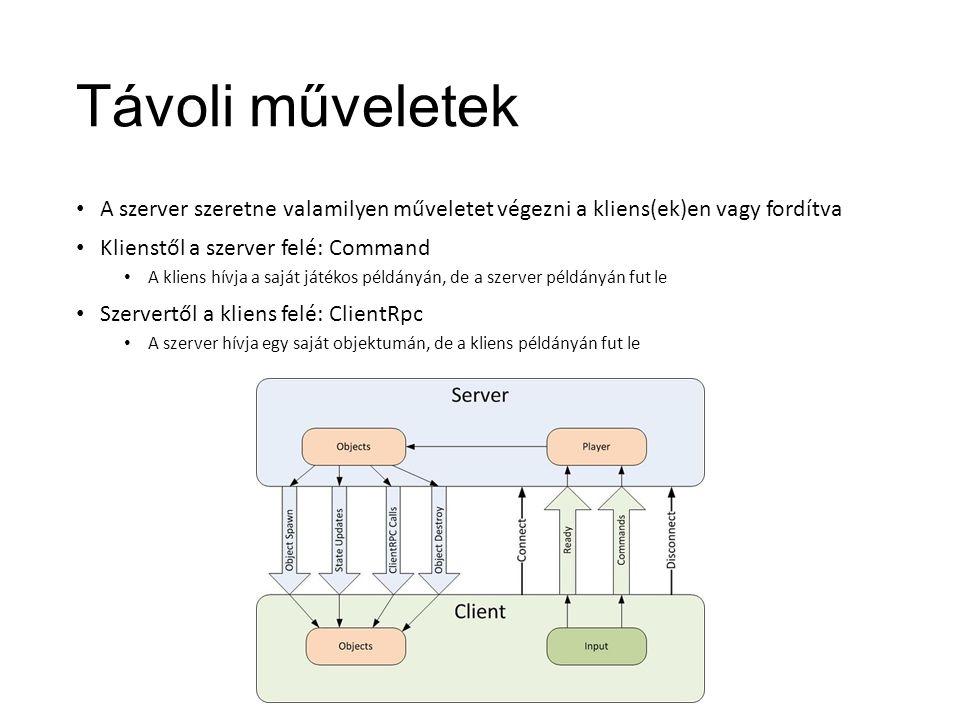 Távoli műveletek A szerver szeretne valamilyen műveletet végezni a kliens(ek)en vagy fordítva Klienstől a szerver felé: Command A kliens hívja a saját játékos példányán, de a szerver példányán fut le Szervertől a kliens felé: ClientRpc A szerver hívja egy saját objektumán, de a kliens példányán fut le