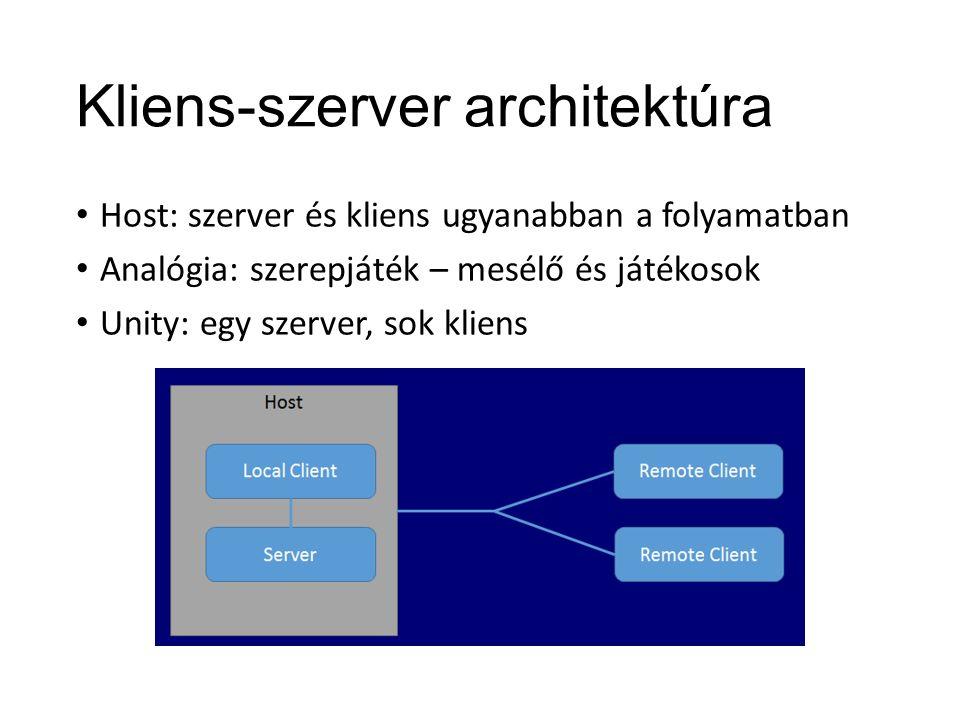Kliens-szerver architektúra Host: szerver és kliens ugyanabban a folyamatban Analógia: szerepjáték – mesélő és játékosok Unity: egy szerver, sok kliens