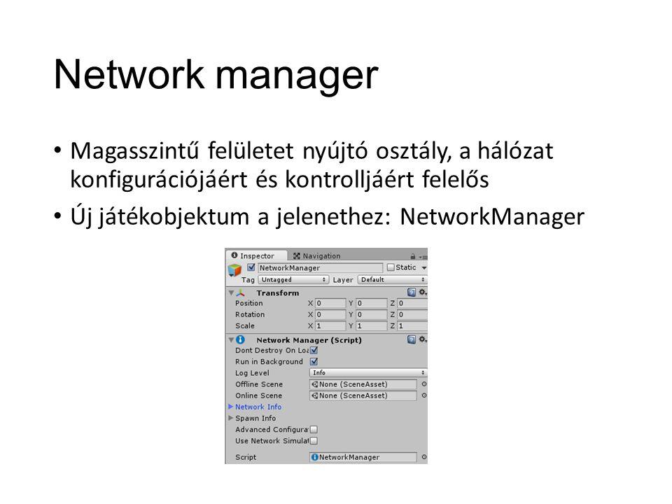 Network manager Magasszintű felületet nyújtó osztály, a hálózat konfigurációjáért és kontrolljáért felelős Új játékobjektum a jelenethez: NetworkManager