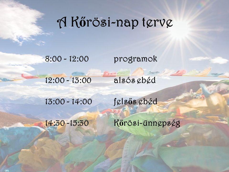 A K ő rösi-nap terve 8:00 - 12:00programok 12:00 - 13:00alsós ebéd 13:00 - 14:00fels ő s ebéd 14:30 -15:30K ő rösi-ünnepség