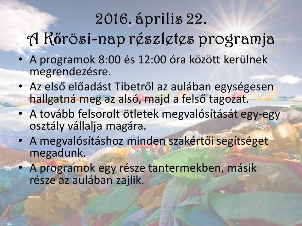 2016. április 22. A K ő rösi-nap részletes programja A programok 8:00 és 12:00 óra között kerülnek megrendezésre. Az első előadást Tibetről az aulában