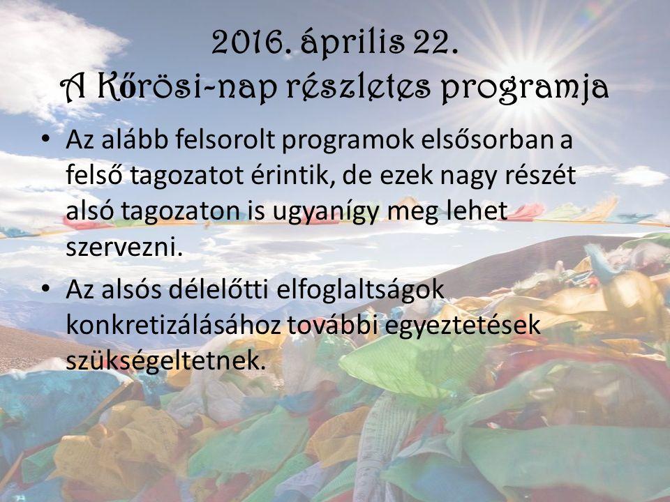 2016. április 22. A K ő rösi-nap részletes programja Az alább felsorolt programok elsősorban a felső tagozatot érintik, de ezek nagy részét alsó tagoz