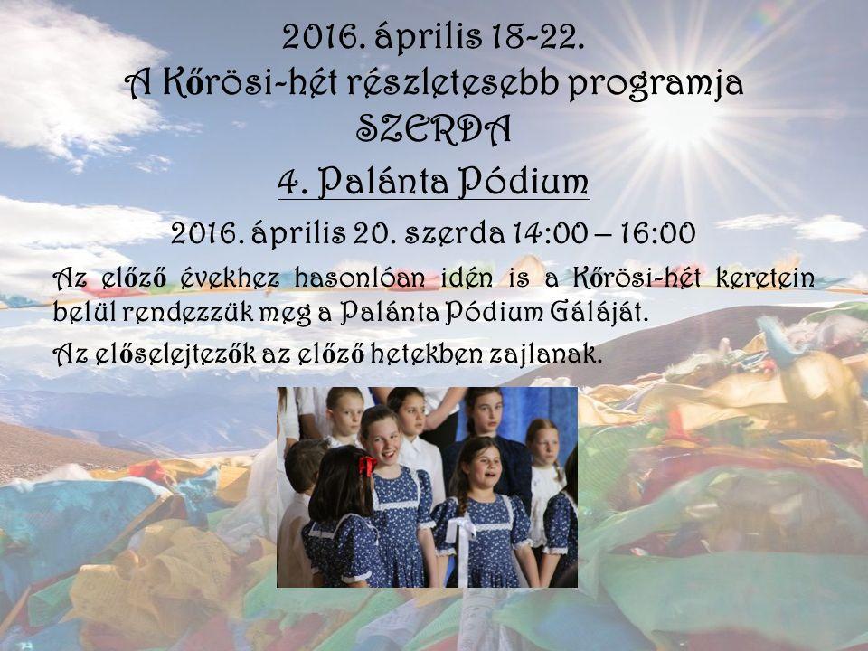 2016. április 18-22. A K ő rösi-hét részletesebb programja SZERDA 4. Palánta Pódium 2016. április 20. szerda 14:00 – 16:00 Az el ő z ő évekhez hasonló