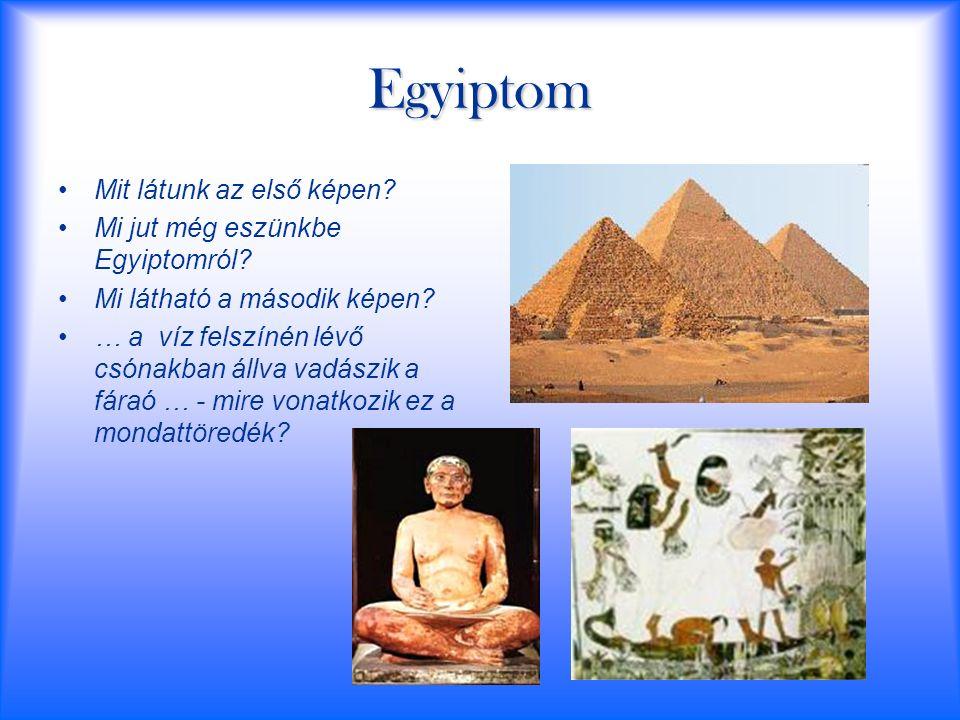 Egyiptom Mit látunk az első képen? Mi jut még eszünkbe Egyiptomról? Mi látható a második képen? … a víz felszínén lévő csónakban állva vadászik a fára
