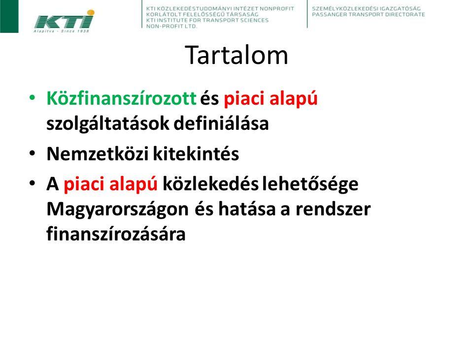 Tartalom Közfinanszírozott és piaci alapú szolgáltatások definiálása Nemzetközi kitekintés A piaci alapú közlekedés lehetősége Magyarországon és hatása a rendszer finanszírozására