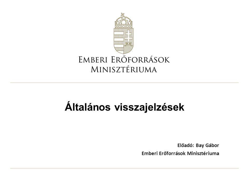 Általános visszajelzések Előadó: Bay Gábor Emberi Erőforrások Minisztériuma