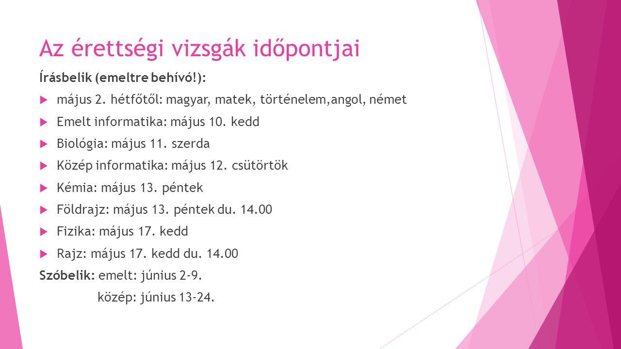Az érettségi vizsgák időpontjai Írásbelik (emeltre behívó!):  május 2.