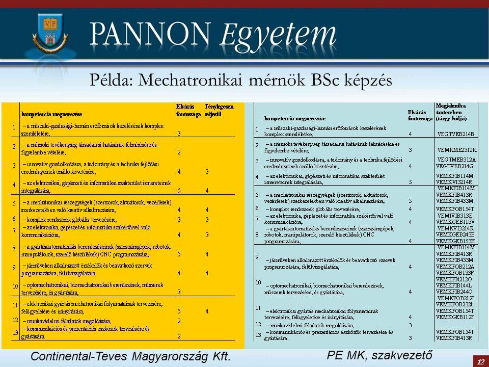 12 Példa: Mechatronikai mérnök BSc képzés Continental-Teves Magyarország Kft. PE MK, szakvezető