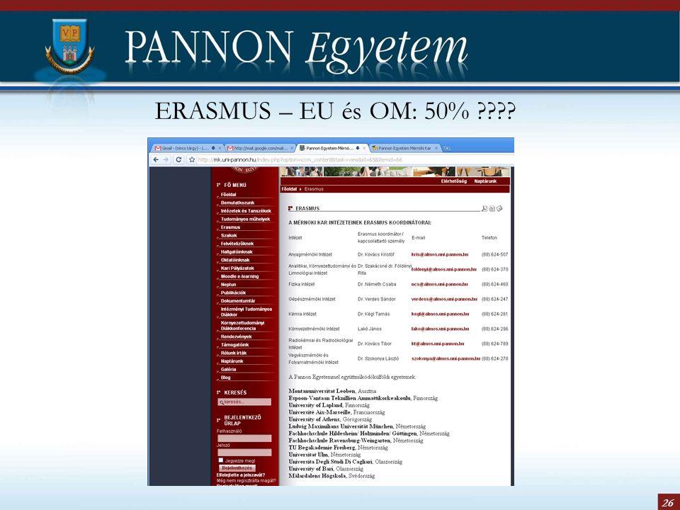 26 ERASMUS – EU és OM: 50%