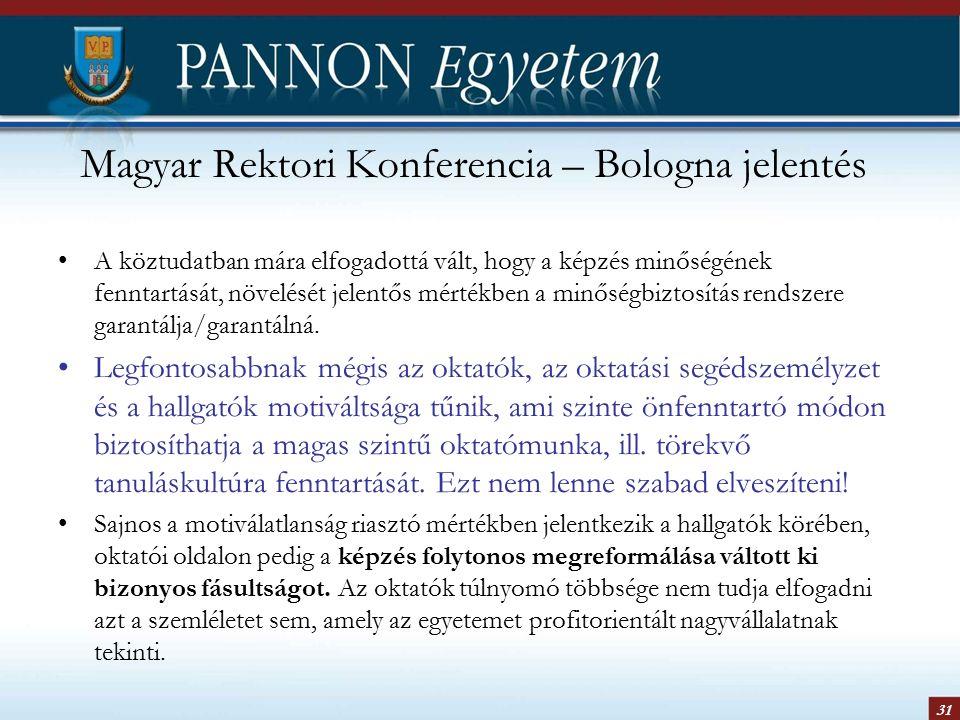 31 Magyar Rektori Konferencia – Bologna jelentés A köztudatban mára elfogadottá vált, hogy a képzés minőségének fenntartását, növelését jelentős mértékben a minőségbiztosítás rendszere garantálja/garantálná.