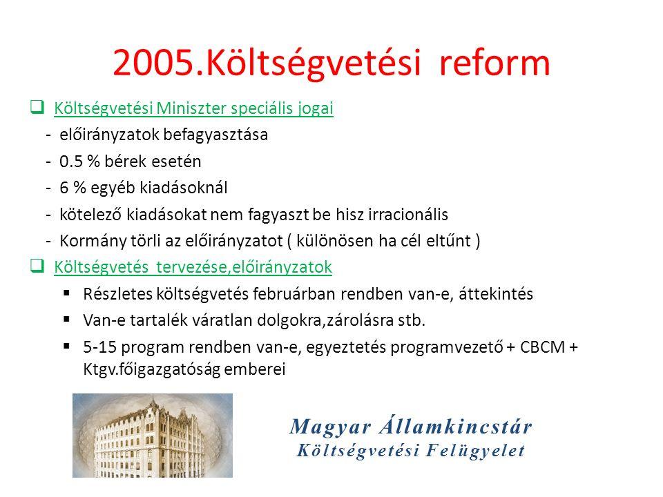 Magyar Államkincstár Költségvetési Felügyelet 2005.Költségvetési reform  Költségvetési Miniszter speciális jogai - előirányzatok befagyasztása - 0.5 % bérek esetén - 6 % egyéb kiadásoknál - kötelező kiadásokat nem fagyaszt be hisz irracionális - Kormány törli az előirányzatot ( különösen ha cél eltűnt )  Költségvetés tervezése,előirányzatok  Részletes költségvetés februárban rendben van-e, áttekintés  Van-e tartalék váratlan dolgokra,zárolásra stb.