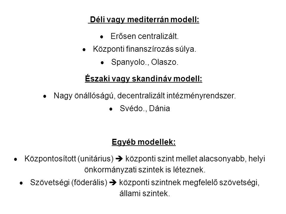 Déli vagy mediterrán modell:  Erősen centralizált.