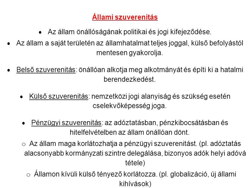 Állami szuverenitás  Az állam önállóságának politikai és jogi kifejeződése.