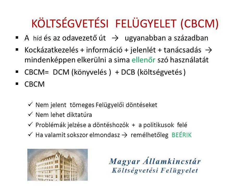 Magyar Államkincstár Költségvetési Felügyelet KÖLTSÉGVETÉSI FELÜGYELET (CBCM)  A híd és az odavezető út → ugyanabban a században  Kockázatkezelés + információ + jelenlét + tanácsadás → mindenképpen elkerülni a sima ellenőr szó használatát  CBCM= DCM (könyvelés ) + DCB (költségvetés )  CBCM Nem jelent tömeges Felügyelői döntéseket Nem lehet diktatúra Problémák jelzése a döntéshozók + a politikusok felé Ha valamit sokszor elmondasz → remélhetőleg BEÉRIK