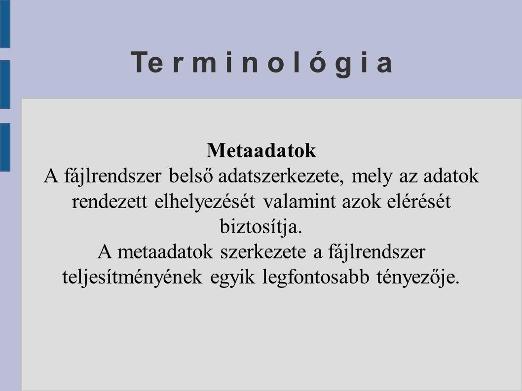 Te r m i n o l ó g i a Metaadatok A fájlrendszer belső adatszerkezete, mely az adatok rendezett elhelyezését valamint azok elérését biztosítja.