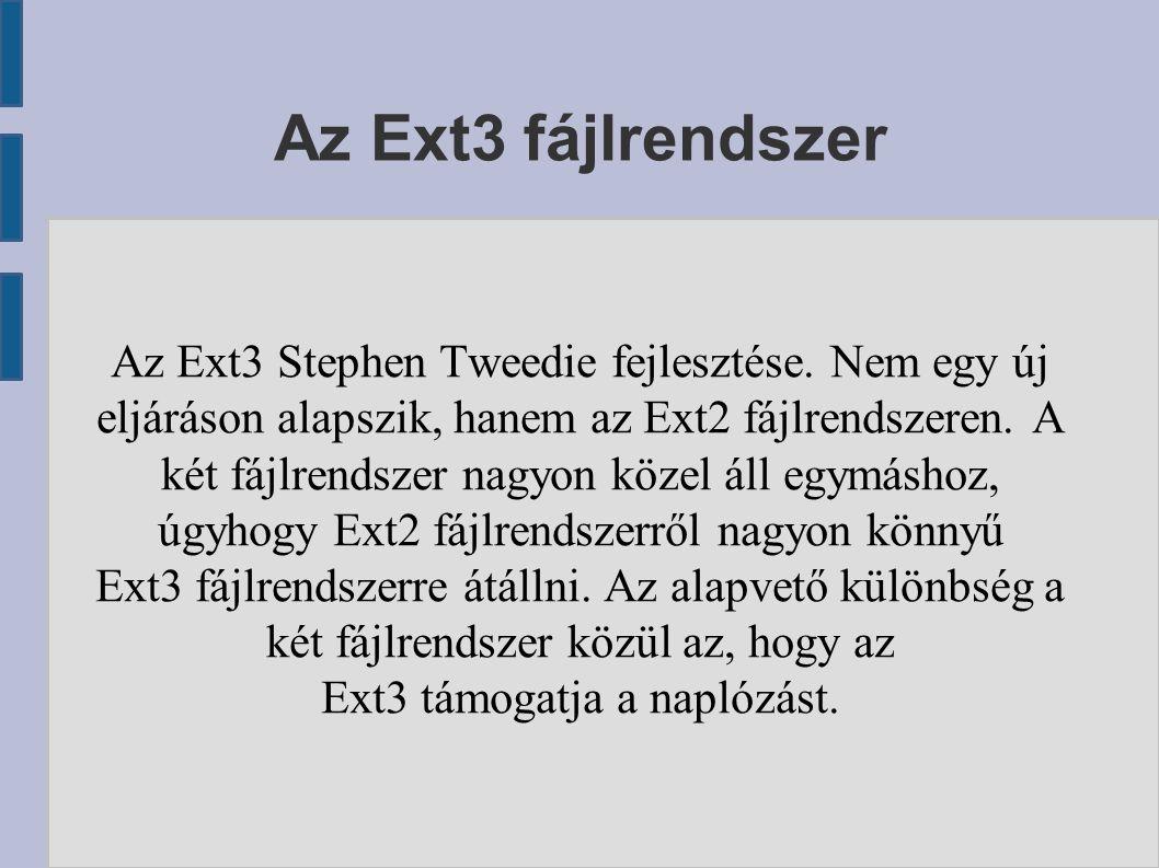 Az Ext3 fájlrendszer Az Ext3 Stephen Tweedie fejlesztése.