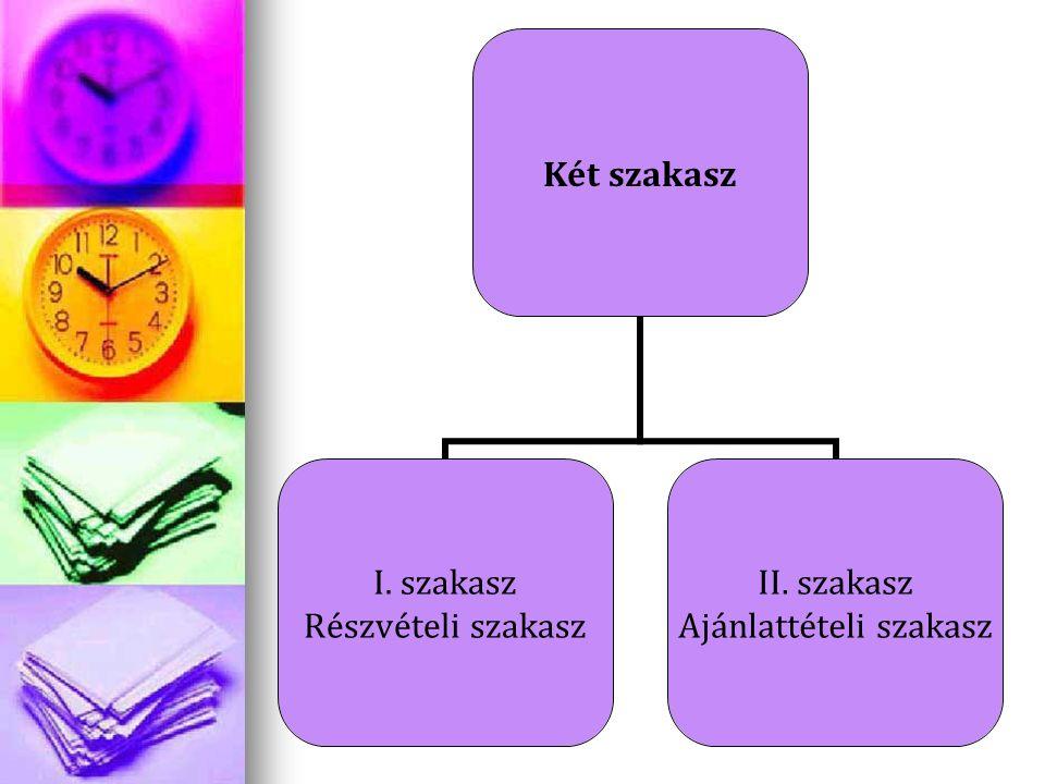 Két szakasz I. szakasz Részvételi szakasz II. szakasz Ajánlattételi szakasz