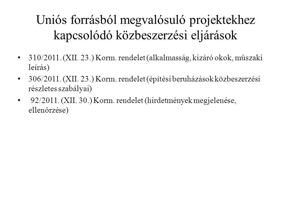 Uniós forrásból megvalósuló projektekhez kapcsolódó közbeszerzési eljárások 310/2011.