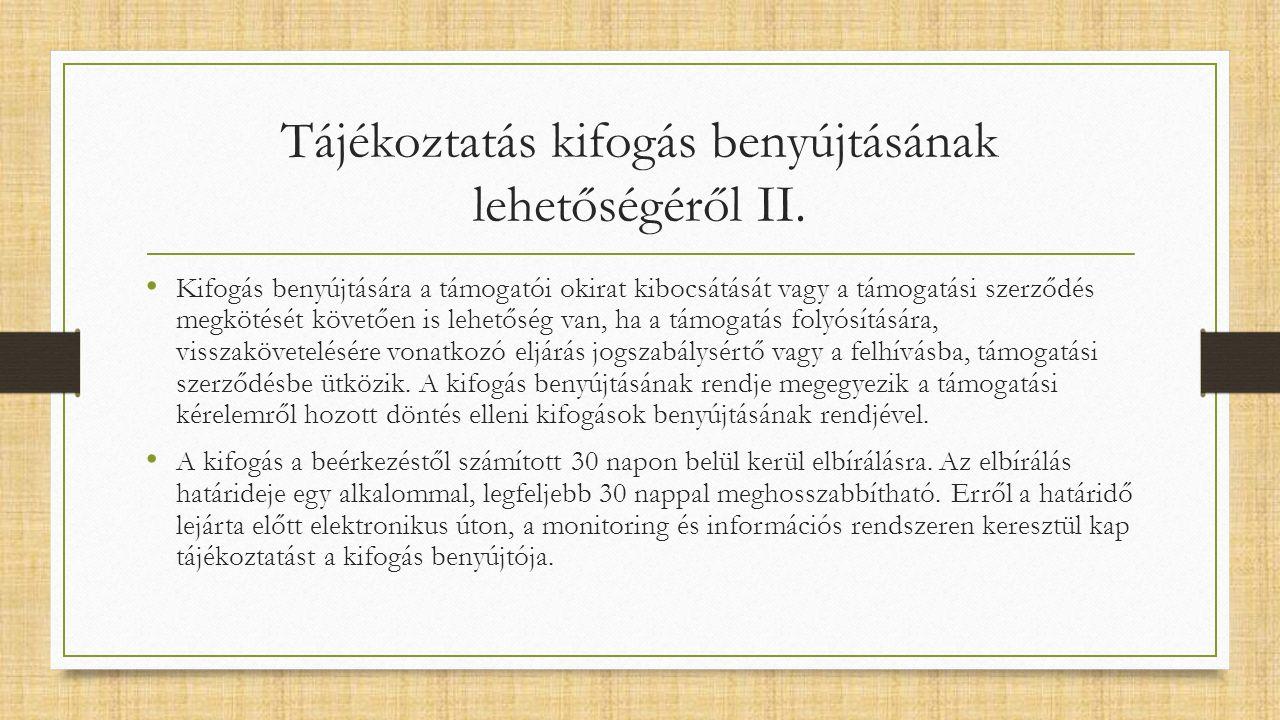 Tájékoztatás kifogás benyújtásának lehetőségéről II.