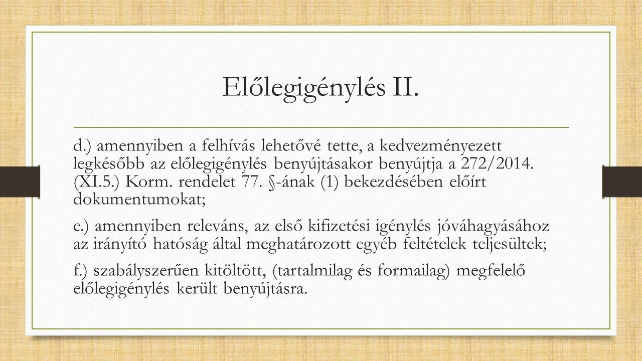 Előlegigénylés II.