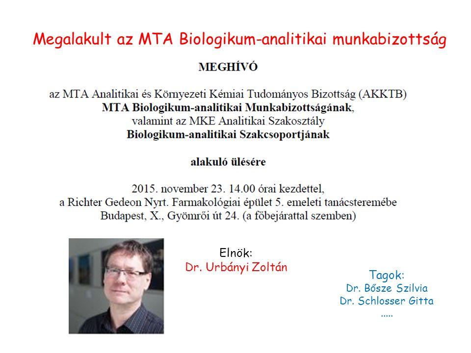 Megalakult az MTA Biologikum-analitikai munkabizottság Elnök: Dr.