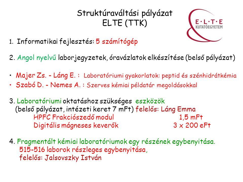 Struktúraváltási pályázat ELTE (TTK) 1. Informatikai fejlesztés: 5 számítógép 2.