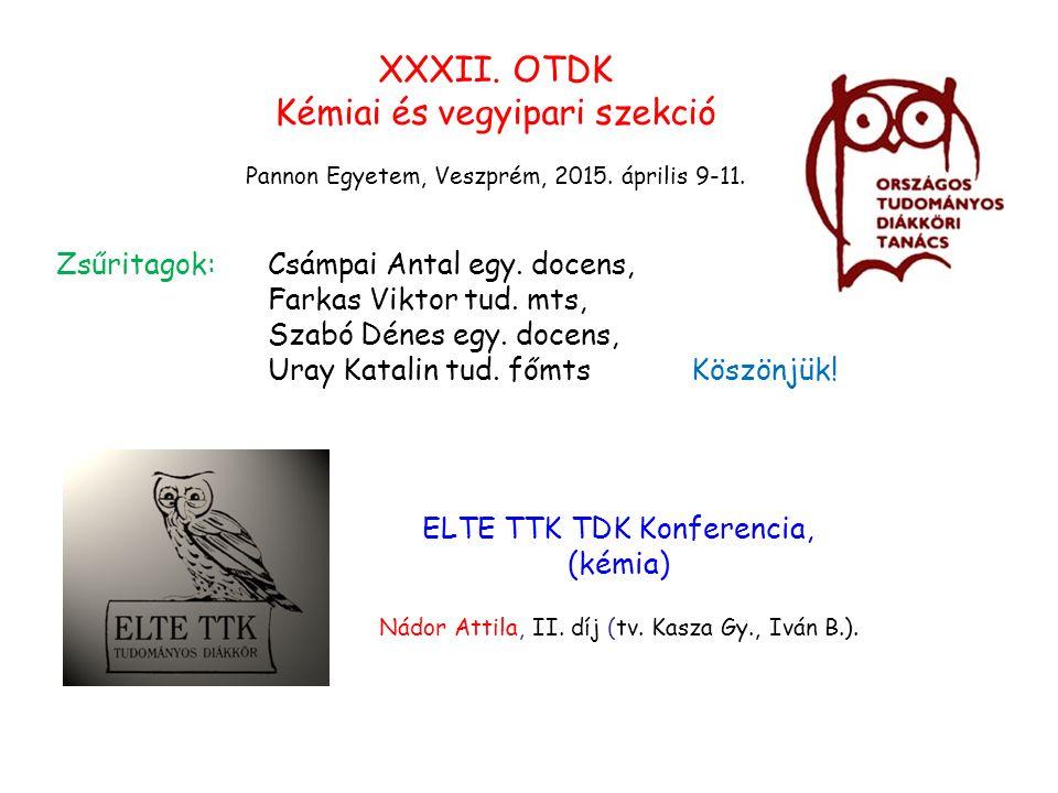 XXXII. OTDK Kémiai és vegyipari szekció Pannon Egyetem, Veszprém, 2015.