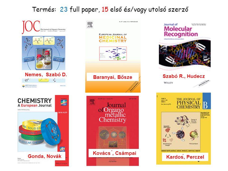 Gonda, Novák Termés: 23 full paper, 15 első és/vagy utolsó szerző Nemes, Szabó D.