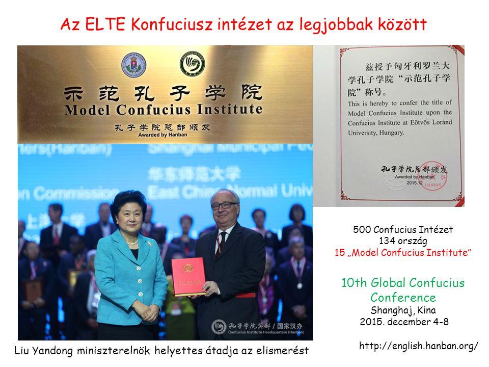 Az ELTE Konfuciusz intézet az legjobbak között 10th Global Confucius Conference Shanghaj, Kina 2015.