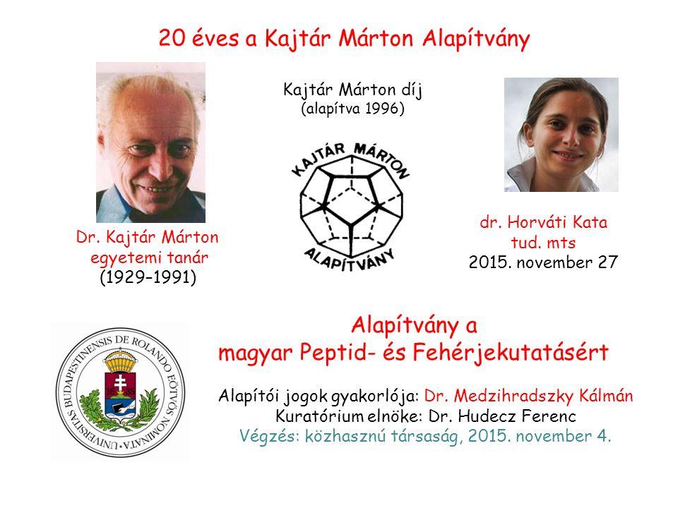 Kajtár Márton díj (alapítva 1996) Alapítvány a magyar Peptid- és Fehérjekutatásért 20 éves a Kajtár Márton Alapítvány Dr.