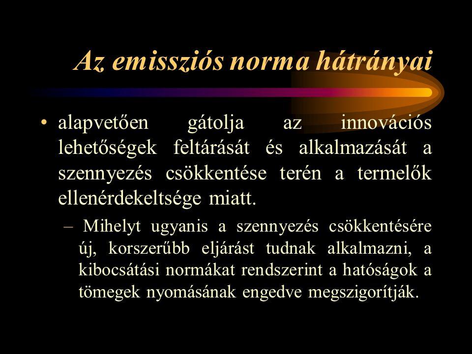 Emissziós normák fajtái egy szennyezőforrás megengedhető kibocsátásának meghatározása (t/év), a szennyezés elhárítás adott fokának meghatározása (pl.