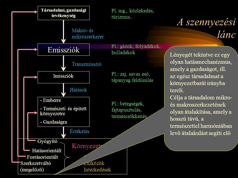 A szennyezési lánc Társadalmi, gazdasági tevékenység Pl.