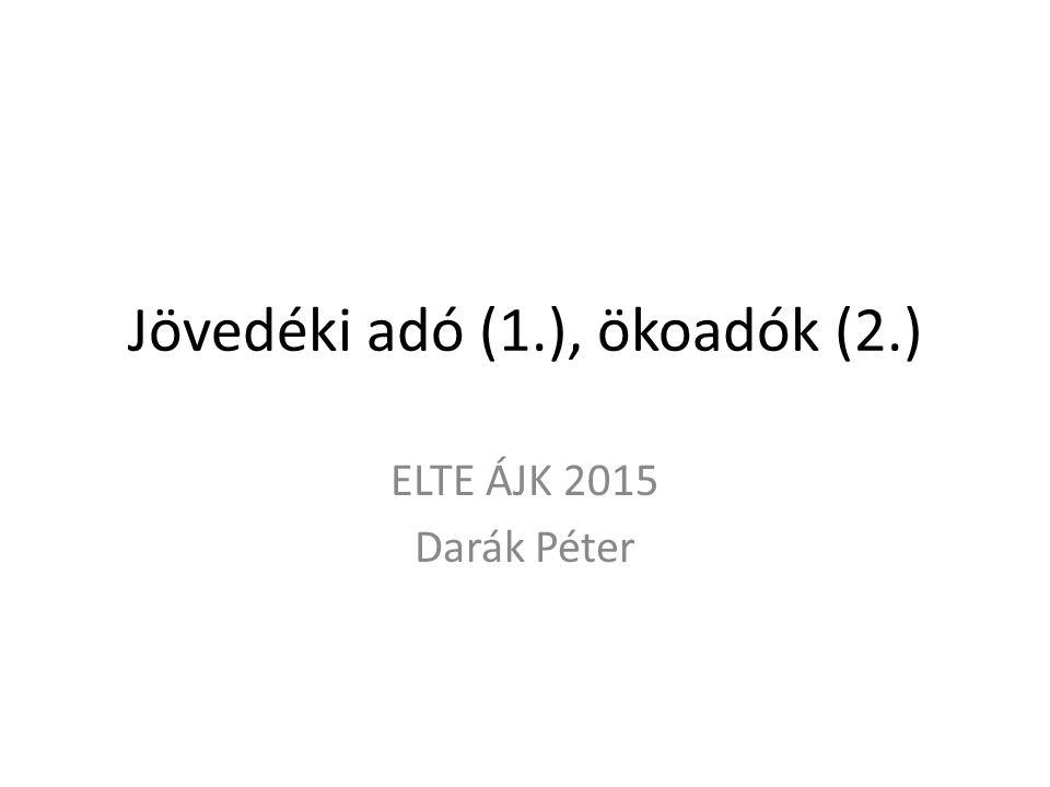 Jövedéki adó (1.), ökoadók (2.) ELTE ÁJK 2015 Darák Péter