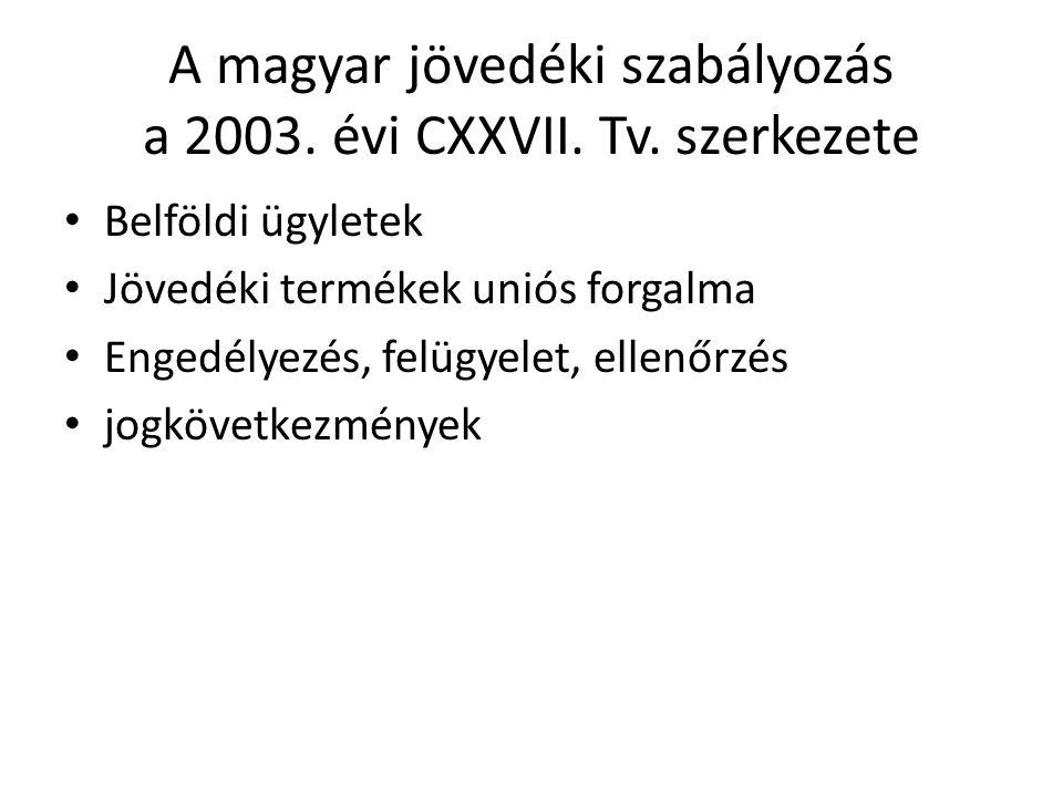 A magyar jövedéki szabályozás a 2003. évi CXXVII. Tv. szerkezete Belföldi ügyletek Jövedéki termékek uniós forgalma Engedélyezés, felügyelet, ellenőrz