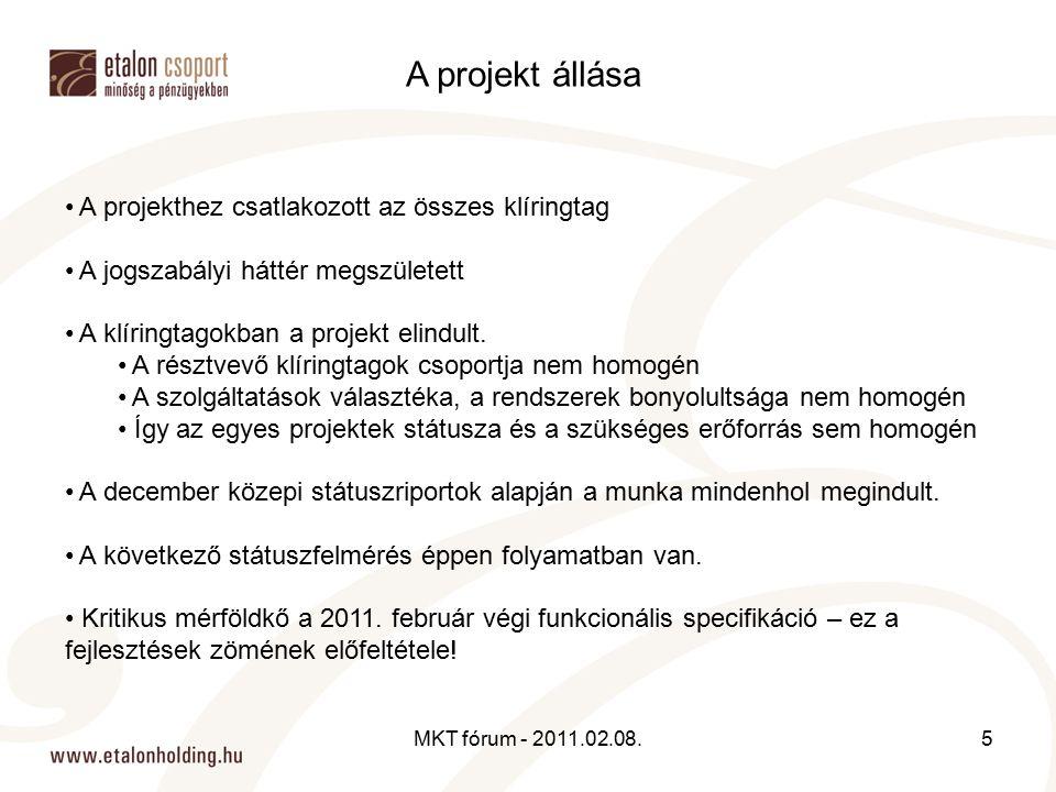 A projekthez csatlakozott az összes klíringtag A jogszabályi háttér megszületett A klíringtagokban a projekt elindult. A résztvevő klíringtagok csopor