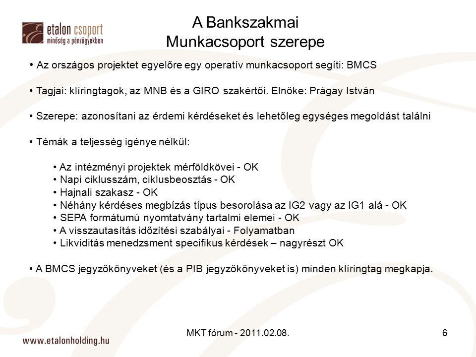 Az országos projektet egyelőre egy operatív munkacsoport segíti: BMCS Tagjai: klíringtagok, az MNB és a GIRO szakértői. Elnöke: Prágay István Szerepe: