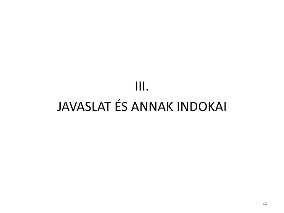 III. JAVASLAT ÉS ANNAK INDOKAI 22