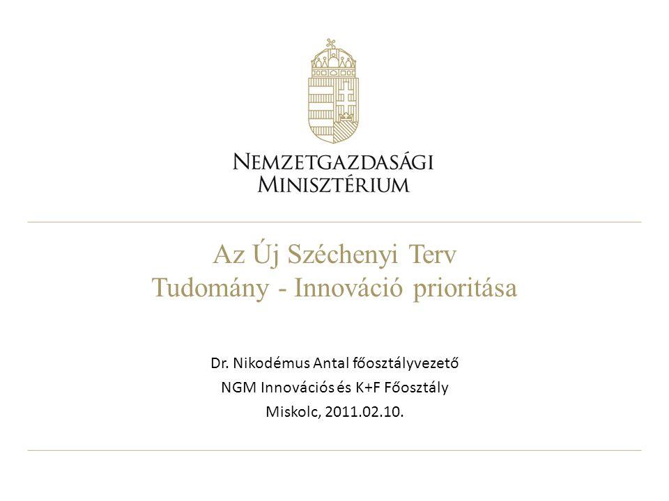Az Új Széchenyi Terv Tudomány - Innováció prioritása Dr. Nikodémus Antal főosztályvezető NGM Innovációs és K+F Főosztály Miskolc, 2011.02.10.