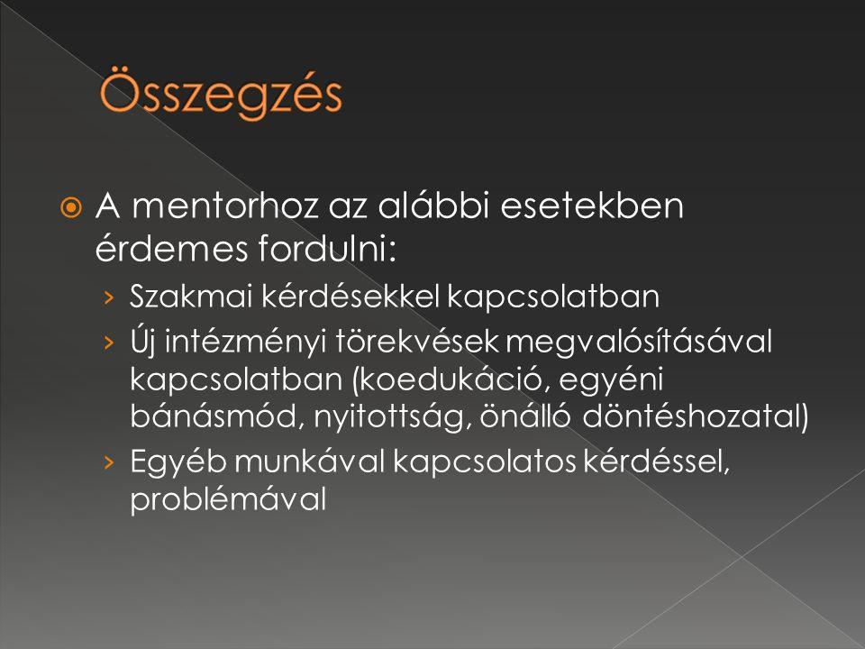  A mentorhoz az alábbi esetekben érdemes fordulni: › Szakmai kérdésekkel kapcsolatban › Új intézményi törekvések megvalósításával kapcsolatban (koedu