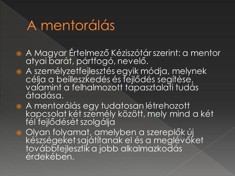  A Magyar Értelmező Kéziszótár szerint: a mentor atyai barát, pártfogó, nevelő.  A személyzetfejlesztés egyik módja, melynek célja a beilleszkedés é