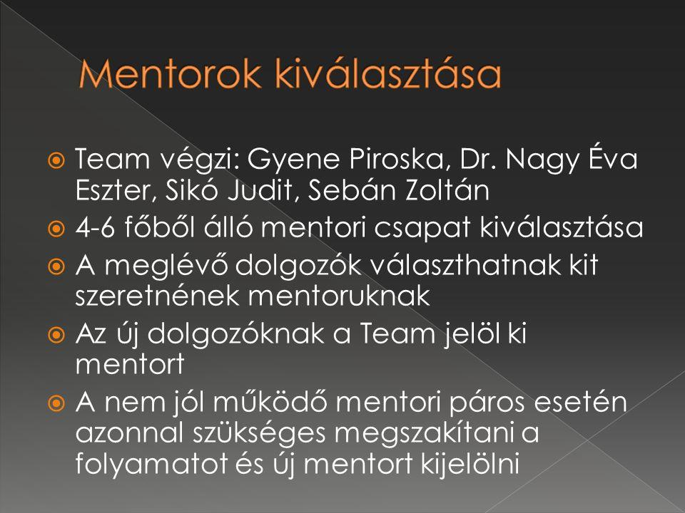  Team végzi: Gyene Piroska, Dr. Nagy Éva Eszter, Sikó Judit, Sebán Zoltán  4-6 főből álló mentori csapat kiválasztása  A meglévő dolgozók választha