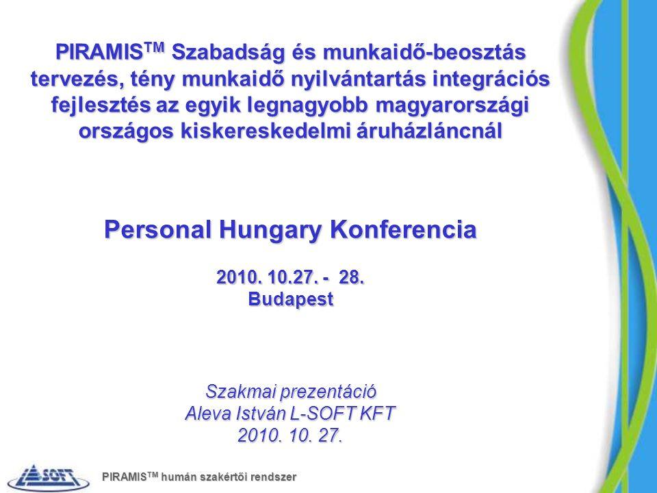 PIRAMIS TM Szabadság és munkaidő-beosztás tervezés, tény munkaidő nyilvántartás integrációs fejlesztés az egyik legnagyobb magyarországi országos kiskereskedelmi áruházláncnál Personal Hungary Konferencia 2010.