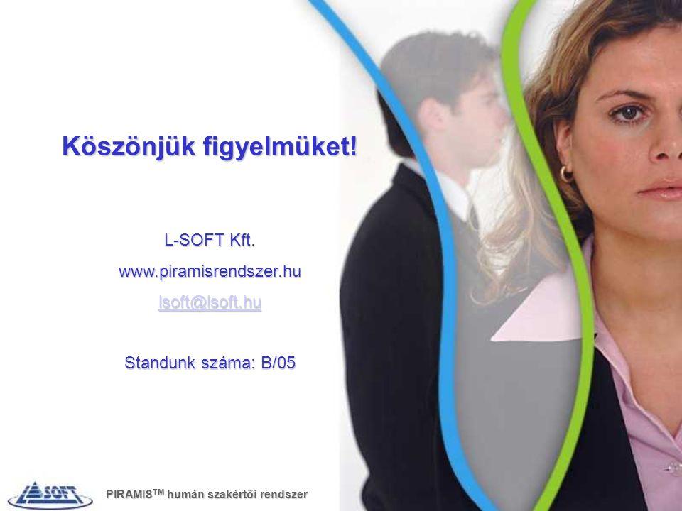 Köszönjük figyelmüket! L-SOFT Kft. www.piramisrendszer.hu lsoft@lsoft.hu Standunk száma: B/05 PIRAMIS TM humán szakértői rendszer