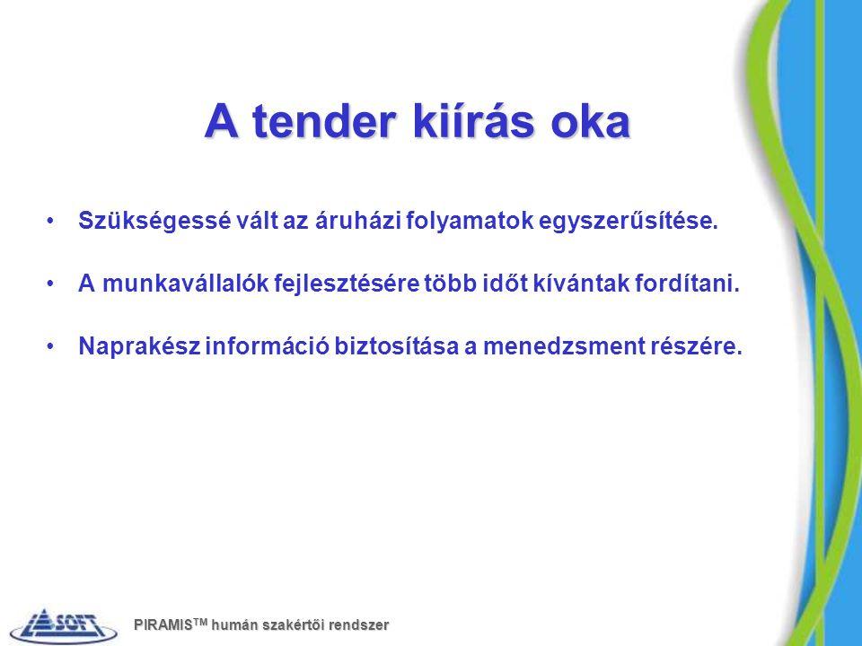 A tender kiírás oka Szükségessé vált az áruházi folyamatok egyszerűsítése. A munkavállalók fejlesztésére több időt kívántak fordítani. Naprakész infor