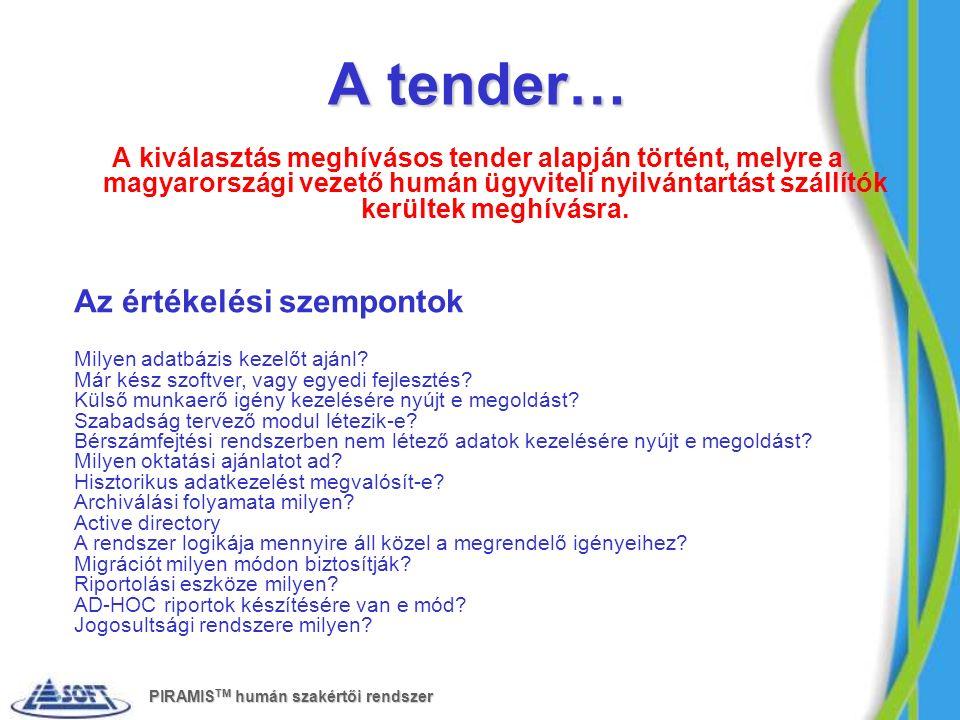 A tender… A kiválasztás meghívásos tender alapján történt, melyre a magyarországi vezető humán ügyviteli nyilvántartást szállítók kerültek meghívásra.