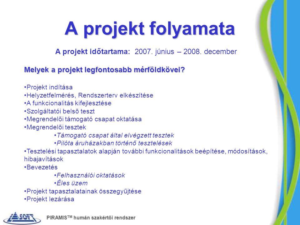 A projekt folyamata A projekt időtartama: 2007. június – 2008. december Melyek a projekt legfontosabb mérföldkövei? Projekt indítása Helyzetfelmérés,