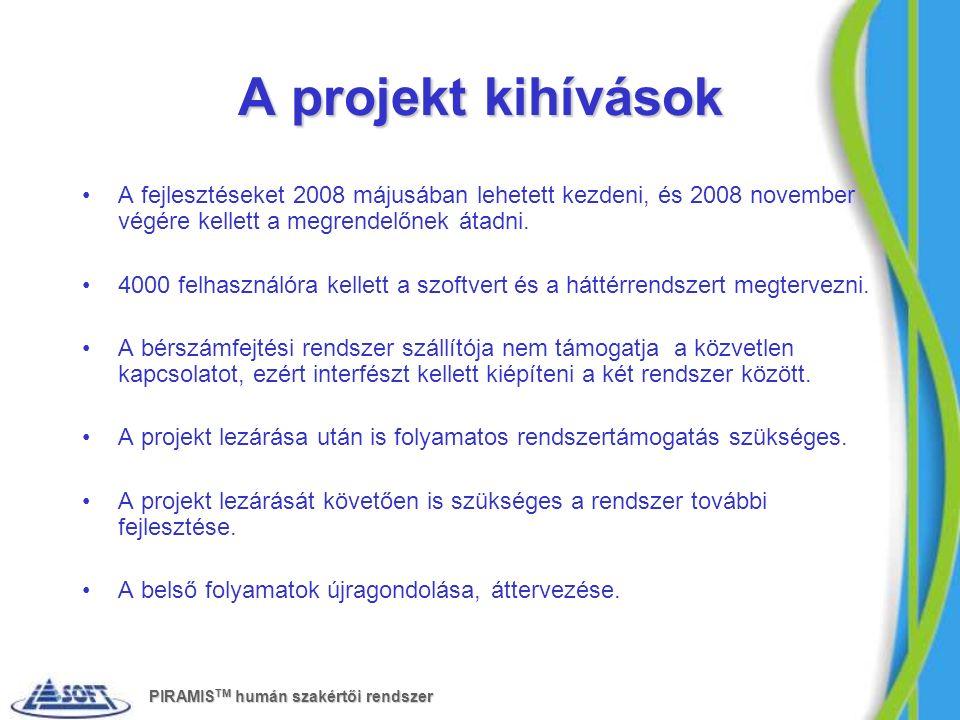 A projekt kihívások A fejlesztéseket 2008 májusában lehetett kezdeni, és 2008 november végére kellett a megrendelőnek átadni. 4000 felhasználóra kelle