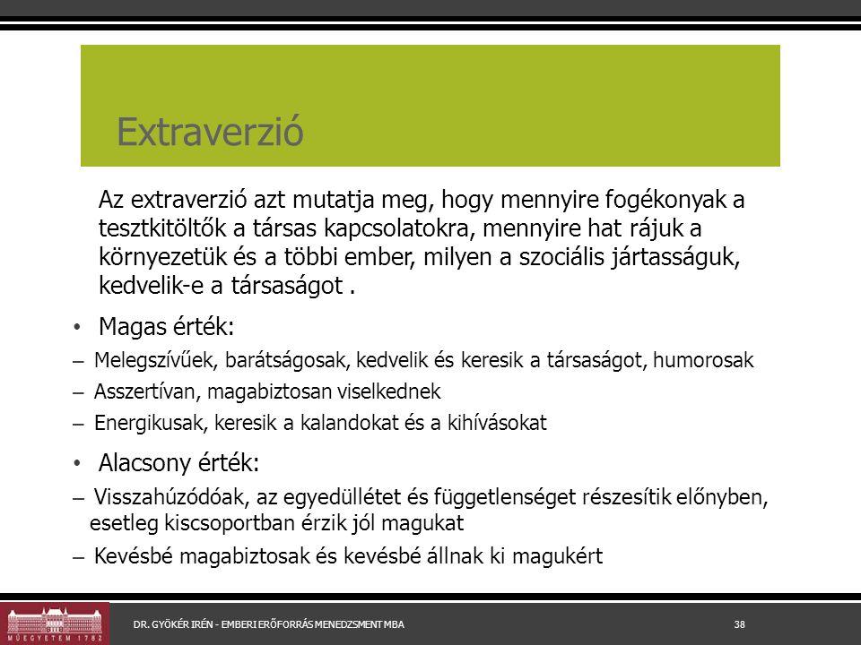 Extraverzió Az extraverzió azt mutatja meg, hogy mennyire fogékonyak a tesztkitöltők a társas kapcsolatokra, mennyire hat rájuk a környezetük és a többi ember, milyen a szociális jártasságuk, kedvelik-e a társaságot.