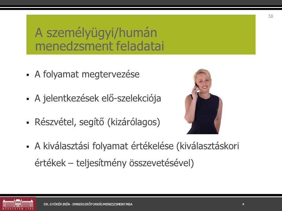 A személyügyi/humán menedzsment feladatai  A folyamat megtervezése  A jelentkezések elő-szelekciója  Részvétel, segítő (kizárólagos)  A kiválasztá